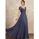 A-Line V-neck Floor-Length Chiffon Lace Mother of the Bride Dress With Beading Sequins (008225548)
