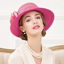 Ladies' Elegant Rattan Straw Bowler/Cloche Hat