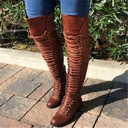 Women's Leatherette Low Heel Over The Knee Boots With Rivet Lace-up shoes
