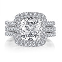 3 Pieces Set Halo Cushion Cut 925 Silver Bridal Sets