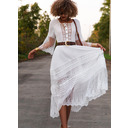 Lace Solid A-line Round Neck 3/4 Sleeves Flare Sleeve Maxi Elegant Skater Dresses (294255120)