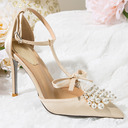 Women's Leatherette Stiletto Heel Closed Toe Pumps With Bowknot Crystal Pearl
