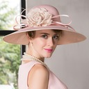 Ladies' Eye-catching Net Yarn With Silk Flower Bowler/Cloche Hat