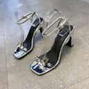 Women's Leatherette Chunky Heel Peep Toe Sandals With Crystal