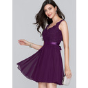 A-Line V-neck Short/Mini Chiffon Homecoming Dress With Bow(s) (022124860)
