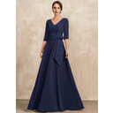 V-neck Floor-Length Stretch Crepe Evening Dress With Bow(s) (271235493)