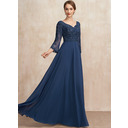 A-Line V-neck Floor-Length Chiffon Lace Mother of the Bride Dress With Beading Sequins (008252074)