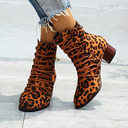 Women's PU Chunky Heel Ankle Boots With Zipper Lace-up shoes
