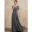 A-Line V-neck Floor-Length Chiffon Lace Mother of the Bride Dress With Sequins Bow(s) (008225577)
