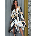 Geometric Print A-line V-Neck Long Sleeves Midi Elegant Dresses (294255464)