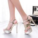 Women's Sparkling Glitter Stiletto Heel Sandals Pumps With Sequin Buckle shoes