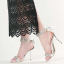 Women's Leatherette Stiletto Heel Sandals Peep Toe With Crystal Lace-up shoes