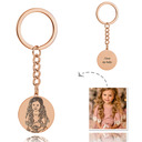 Bridesmaid Gifts - Personalized Photo Engraved Black And White Circle Sterling Silver 18K Rose Gold Plated Keychains