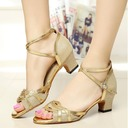 Women's Sparkling Glitter Heels Pumps Latin With Ankle Strap Dance Shoes
