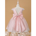 Ball-Gown/Princess Knee-length Flower Girl Dress - Satin/Lace Sleeveless Scoop Neck With Beading/Bow(s) (010211904)