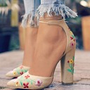 Women's Suede Chunky Heel Sandals Pumps Closed Toe With Lace-up shoes