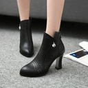 Women's Leatherette Chunky Heel Boots Ankle Boots With Rhinestone Zipper Hollow-out shoes