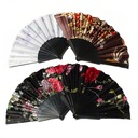 Floral Design Plastic/Fabric Hand fan (Set of 4)