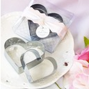Double Hearts Stainless Steel Cake and Cookie Cutter Mold With Ribbons/Tag (Set of 2 pieces)