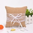 Lovely Ring Pillow in Flax With Ribbons/Lace