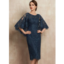 Sheath/Column Scoop Neck Knee-Length Lace Mother of the Bride Dress (008225579)