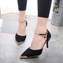 Women's Suede Stiletto Heel Sandals Pumps Closed Toe With Sequin shoes