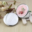 Personalized Flower Design Chrome Compact Mirror With Diamond Rhinestone