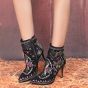 Women's Real Leather Stiletto Heel Pumps Boots Ankle Boots With Buckle Flower shoes