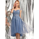 A-Line Scoop Neck Asymmetrical Tulle Homecoming Dress With Sequins (022236592)