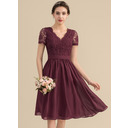 A-Line V-neck Knee-Length Chiffon Lace Homecoming Dress (300244215)