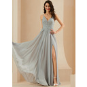 A-Line V-neck Floor-Length Chiffon Prom Dresses With Lace Sequins Split Front (018254972)