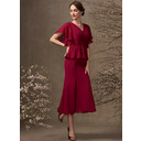 Trumpet/Mermaid V-neck Tea-Length Chiffon Mother of the Bride Dress With Ruffle Beading Sequins (008255208)