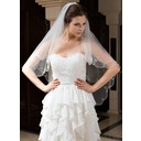 Two-tier Fingertip Bridal Veils With Beaded Edge (006035808)