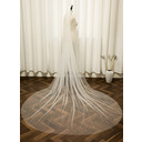 One-tier Cut Edge Cathedral Bridal Veils With Faux Pearl (006254004)