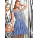 A-Line Scoop Neck Short/Mini Tulle Homecoming Dress With Beading Appliques Lace (022236554)