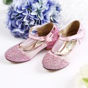 Girl's Closed Toe Mary Jane Sparkling Glitter Flower Girl Shoes With Velcro