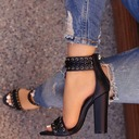 Women's Leatherette Chunky Heel Sandals Pumps Peep Toe With Zipper Braided Strap shoes
