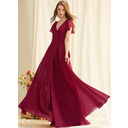 A-Line V-neck Floor-Length Chiffon Prom Dresses With Split Front (018250205)