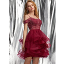 Ball-Gown/Princess Scoop Neck Short/Mini Tulle Prom Dresses With Beading Sequins (018254576)