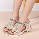 Girl's Peep Toe Leatherette Sandals Flats With Bowknot Crystal Button
