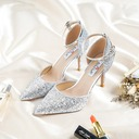 Women's Leatherette Sparkling Glitter Spool Heel Closed Toe Pumps With Lace-up