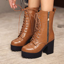 Women's Leatherette Chunky Heel Mid-Calf Boots Round Toe With Lace-up shoes