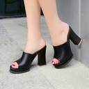Women's Leatherette Chunky Heel Sandals Pumps Platform Slippers shoes
