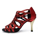 Women's Leatherette Heels Sandals Latin With Ankle Strap Hollow-out Dance Shoes