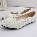 Women's Leatherette Flat Heel Pumps Beach Wedding Shoes With Applique