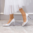 Women's Satin Stiletto Heel Pumps Closed Toe With Imitation Pearl shoes