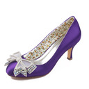 Women's Silk Like Satin Stiletto Heel Closed Toe Pumps With Bowknot Crystal