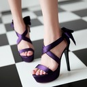 Women's Satin Stiletto Heel Sandals Pumps Peep Toe With Buckle shoes