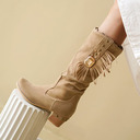 Women's Leatherette Chunky Heel Mid-Calf Boots Round Toe With Tassel shoes