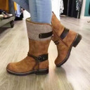 Women's Suede Low Heel Boots Mid-Calf Boots With Lace-up shoes